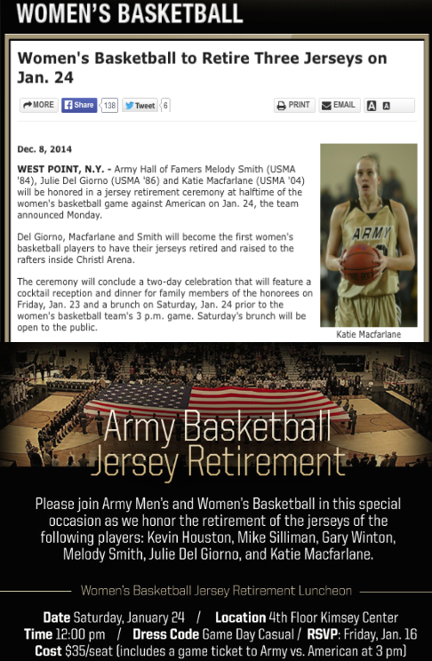 U S  Army Women's Basketball team to retire TLDG faculty